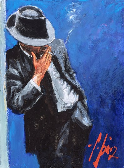 Man in Black Suit (Reversed) by Fabian Perez - Original Painting on Stretched Canvas